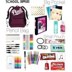 A fashion look from November 2016 by jazmynne-dickerson featuring scunci, Kate Spade, Sugar Paper and Paper Mate Middle School Hacks, High School Hacks, Life Hacks For School, Back To School Tips, High School Essentials, Back To School Highschool, School Supplies Highschool, Ready For School, Freshman In Highschool