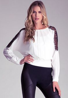 bebe Lace Inset Top