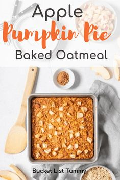 Apple Pumpkin Pie Baked Oatmeal is an easy, hearty breakfast option for on the go and for a crowd. It is both gluten free and dairy free, and full of fiber. This fall baked oatmeal will have your whole kitchen smelling like fresh fall. Pumpkin Pie Oatmeal, No Bake Pumpkin Pie, Baked Pumpkin, Pumpkin Pies, Oatmeal Recipes, Pumpkin Recipes, Fall Recipes, Gourmet Recipes, Snack Recipes