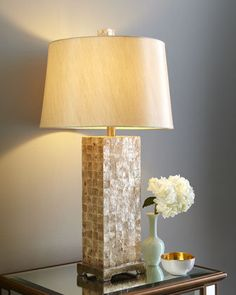 Stunning!! Capiz Square-Base Lamp     ~ Capiz-Shell Lamp Base covered w/ tiles of shell that shimmer ever so slightly in the light w/ an Ivory Shade     via | Horchow @ http://www.horchow.com/store/catalog/prod.jhtml?itemId=cprod87590002=cat8520732=cat2610734=1=cat000000cat10300731cat2610734cat8520732=false