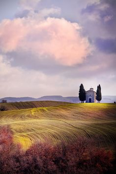 Vitaleta Chapel Tuscany.... The Chapel Madonna di Vitaleta is a small sacred building that sits on top of a hill on the road that connects San Quirico d'Orcia, Pienza.   by Marco Carmassi on 500px