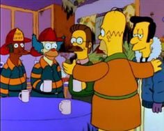 Homer thanking his friends for saving his house