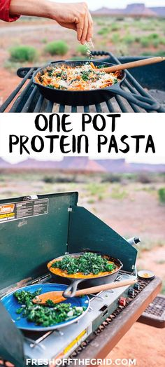 Combining red lentil pasta with garlicky sauteed kale, this super easy one pot camping meal delivers a ton of protein while still remaining completely vegetarian.