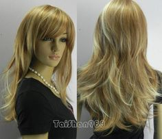 Hot Sell New Long Brown & Light Blonde Mix Straight Women's Lady's Hair Wig Wigs