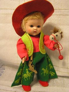 1953 Vogue Ginny - Strung Doll - Cowboy Tags #Vogue #StrungGinny #DollswithClothingAccessories