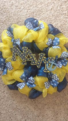 Navy Deco Mesh Wreath Military wreath nautical by AERusticCharm