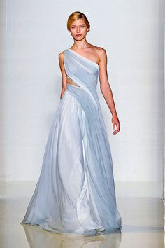 Love one shoulder dresses and there is nothing more elegant than chiffon...