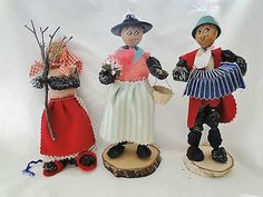 """This is a group of three vintage prune people from Nuremburg Germany, they are about 7 ½"""" tall. The man with the accordion and the gardener are on stands, the lady with the broom needs to be propped u. German Christmas Traditions, German Folk, Oktoberfest Party, People, Germany, Traditional, Holidays, Vintage, My Favorite Things"""