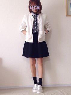 ギンガムチェックのシャツ Honeys・ スカート UNIQLO