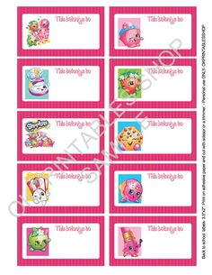 30 shopkins name labels sticker back to school supplies address personalized label stickers. Black Bedroom Furniture Sets. Home Design Ideas
