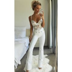 Bell Curve Gold Button High Waist Bandage Flare Leg Pant - 2 Colors... ($120) ❤ liked on Polyvore featuring pants, high rise trousers, palazzo trousers, high waisted palazzo pants, high-waist trousers and high-waisted palazzo pants