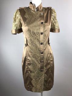 Karen Millen Khaki Lace Mohini Dress Romantic Safari Dress Gold Womens 10   eBay