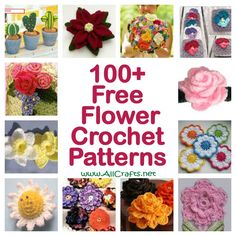 CROCHET FLOWERS PATTERNS Even though we're still in a deep chill, I know spring is coming! To celebrate, I'm featuring our collection of 100 Free Flower Crochet Patterns. Is there anything more cheerful than a happy little flower?Over 100 Free Croche Crochet Puff Flower, Crochet Flower Patterns, Crochet Motif, Crochet Roses, Crochet Appliques, Crochet Stars, Yarn Flowers, Knitted Flowers, Unique Crochet