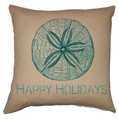 Cotton-linen pillow with a sand dollar motif and typographic details.  Product: PillowConstruction Material: Cot...