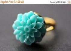 MOTHERS DAY SALE Aqua Mum Flower Ring. Aqua Chrysanthemum Ring. Aqua Flower Ring. Adjustable Ring. Handmade Flower Jewelry. by StumblingOnSainthood from Stumbling On Sainthood. Find it now at http://ift.tt/1XexOI3!