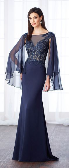 Shining Silk-like Chiffon & Acetate Satin Bateau Neckline Cape-sleeves Sheath/Column Mother Of The Bride Dresses With Beaded Lace Appliques