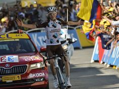 Romain Bardet celebrates as he crosses the finish line during Stage 18 of the 2015 Tour de France between Gap and Saint-Jean-de-Maurienne in France.  Jeff Pachoud, AFP/Getty Images