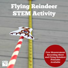 Your children are going to have fun trying to get their flying reindeer to fly farther down a measuring tape. A free recording printable is available. Christmas Activities For Kids, Preschool Christmas, Stem Science, Preschool Science, Science Classroom, Teaching Science, Science Experiments, Teaching Ideas, Kindergarten Stem