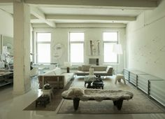 Matthew Williams {white eclectic rustic modern loft living room}
