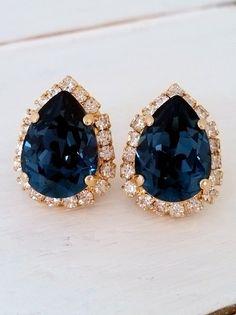 Navy Blue earrings | blue crystal Stud earrings | navy blue Bridal by EldorTinaJewelry on Etsy | http://etsy.me/1U6Vdr7