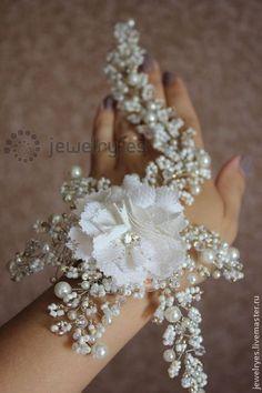 Свадебное украшение в прическу в стиле бохо. Handmade.