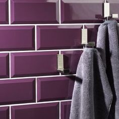 Metro tiles don't have to be white, black or cream! Add a splash of colour with Metro Plum Wall Tile 10x20cm