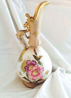 Antique Franz Anton Mehlem Bonn German Porcelain Ewer Dragon Handle C1800's #FranzAntonMehlem