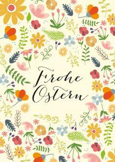 Frohe Ostern mit verschiedenen Blumen auf hellgelben HIntergrund