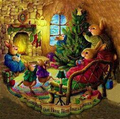 Hilde Van der Auwera uploaded this image to 'Kerstafbeeldingen/Christmas Art/Susan Wheeler'. See the album on Photobucket. Christmas Scenes, Christmas Pictures, Christmas Art, Xmas, Christmas Graphics, Family Christmas, Susan Wheeler, Christmas Illustration, Art And Illustration