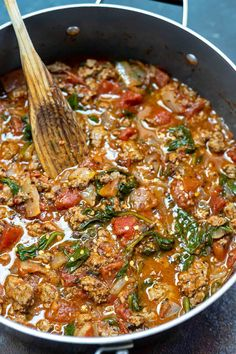 Spaghetti Meat Sauce with Spinach Meat Sauce Recipes, Baked Pasta Recipes, Spinach Recipes, Chicken Salad Recipes, Appetizer Recipes, Soup Recipes, Whole Food Recipes, Recipes Dinner, Yummy Recipes
