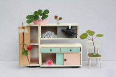 Vintage dollhouse furniture by Sabine Timm Miniature Furniture, Dollhouse Furniture, Home Furniture, Toy Kitchen, Kitchen Doors, Kitchen Cupboard, Ideas Prácticas, Craft Ideas, Vintage Dollhouse