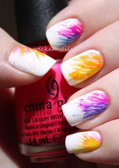 Toothpick Neon Nails- Paint your nails a light base coat, dip a tooth pick in a colorful polish and draw lines closetogether on your nail. Repeat steps with different colors.