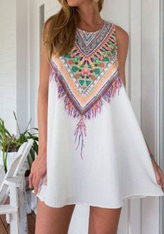 White Geometric Print Round Neck Sleeveless Bohemian Chiffon Mini Dress