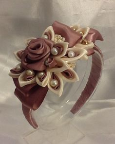 Hand Made Fashionable Headband Embellished with Taupe and Ivory Silk Flower