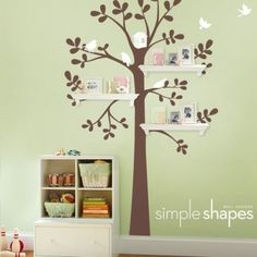 wall decals girls baby trees birds   white tree with citrus yellow birds birdhouse chestnut brown tree ...
