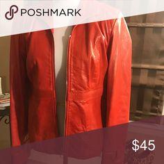 Red leather jacket by Juliana Collezione Beautiful Italian leather jacket with circular, silver ring on each cuff.  Very good condition. juliana collezione Jackets & Coats