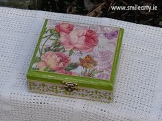 Handmade box for jewellery, hair pins or small accessories made with decoupage. It's a truly unique small gift for the romantic woman. Unique Gifts For Her, Small Gifts, Romantic Woman, Blue Butterfly, Vintage Roses, Dublin, Pink Blue, Decoupage, Decorative Boxes