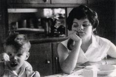 Priscilla photographed at home with her brother, early 1960's.