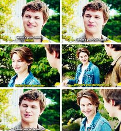So so great! This scene from The Fault in Our Stars trailer. It's on YouTube so check it out. Love this. Featuring Shailene Woodley (to play Hazel) and Ansel Elgort (to play Augustus Waters)