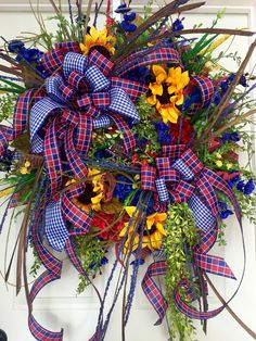 Premium XL Spring or Summer Red and Blue Sunflower Wildflower Mesh Wreath by WilliamsFloral on Etsy https://www.etsy.com/listing/274499438/premium-xl-spring-or-summer-red-and-blue