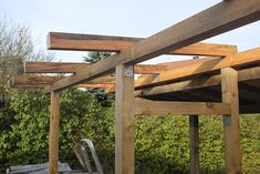 Holzlager 2 bauen | vesab.de Pergola, Outdoor Structures, Gardens, Patio, Firewood Shed, Wood Shed, Wood Store, Log Home, Outdoor Pergola