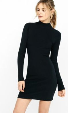 ribbed mock neck sweater sheath dress from EXPRESS