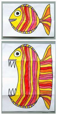 Projeto de arte do papel de pesca dobrável. Arte para crianças, projetos de arte fácil