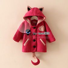 Autumn Winter Girls child kids Baby Cat Ear Tail Wool Cosplay Coat Jackets 2-8Y