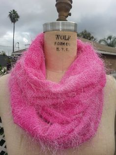 This scarf is Fuzzy-fantastic. Pink fuzzy infinity scarf by DeZeStar on Etsy