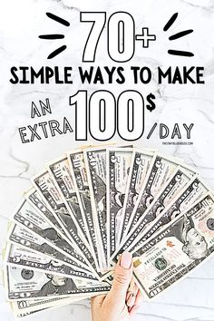 Need to make a couple of extra bucks? Here are 70 easy ways you can start earning more money right now. These simple side hustles can easily earn you $100 per day. Work From Home Opportunities, Work From Home Jobs, Earn More Money, Ways To Save Money, Teaching English Online, Money Saving Mom, Easy Work, Managing Your Money, Financial Goals