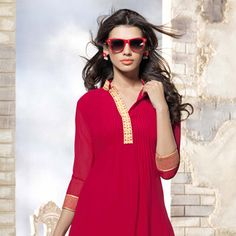 #Red Faux Georgette Readymade #Tunic