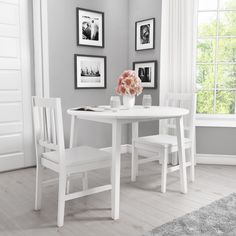 Buy New Haven Round Drop Leaf 2 Seater Dining Table in Stone White from - the UK's leading online furniture and bed store White Dining Table, 2 Seater Dining Table, White Dining Room Decor, Drop Leaf Dining Table, White Dining Room, Dining Table, White Dining Room Furniture, White Sideboard, White Dining Set