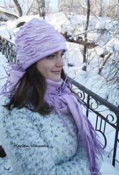 Комплект валяный Лиловая розочка – купить в интернет-магазине на Ярмарке Мастеров с доставкой