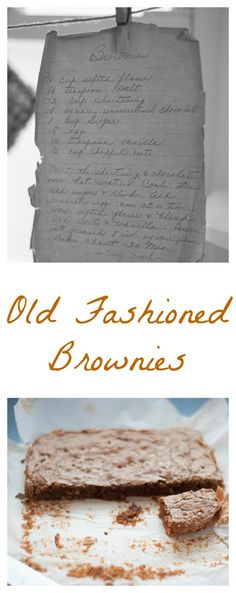 From our collection of antique recipes we made Old Fashioned Brownies.  Simple and delicious.  bloggingwithapples.com